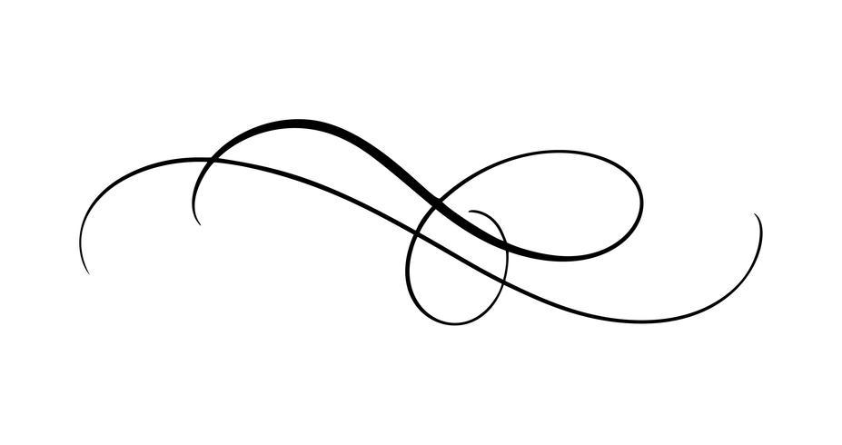 Elemento de caligrafia de vetor florescer. Entregue o divisor tirado para a decoração da página e o ornamento do redemoinho da ilustração do projeto do quadro. Decorativo para cartões de casamento e convites