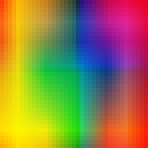Fundo irregular das telhas de mosaico do arco-íris dos quadrados coloridos abstratos. Modelo de harmonias de cores do espectro na moda. Efeito de gradiente. vetor