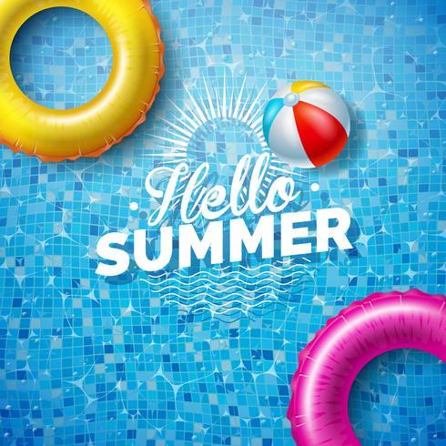 Ilustração do verão com o flutuador na água no fundo telhado da associação. Modelo de Design de férias de verão vetor