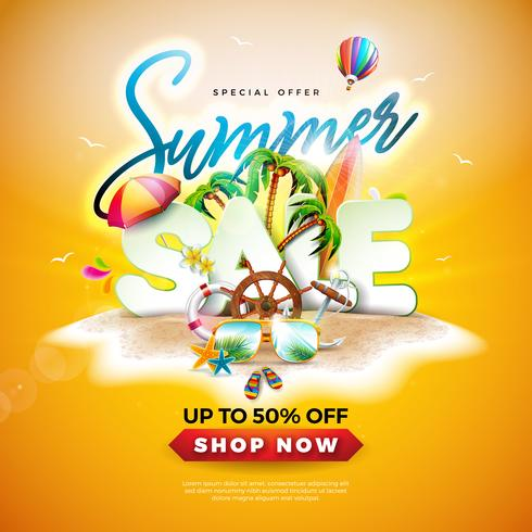 Projeto da venda do verão com óculos de sol e folhas de palmeira exóticas no fundo tropical da ilha. Oferta especial de ilustração vetorial com elementos de férias vetor