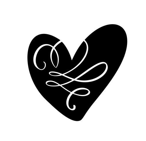 Vector ilustração escandinavos coração no estilo do minimalismo. Sinal de amor de vetor de caligrafia romântica. Ícone de mão desenhada para dia dos namorados. Símbolo do conceito de cartão de felicitações, casamento cartaz