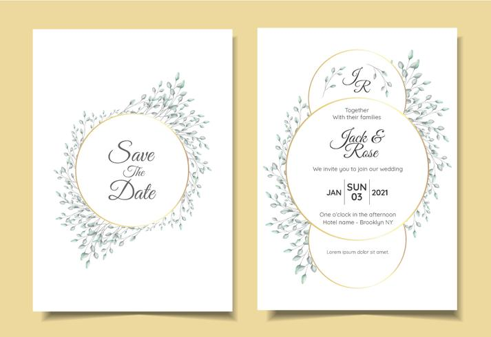 Grupo minimalista do convite do casamento do vintage do arranjo floral natural com quadro dourado do círculo elegante. Modelo de cartões multiuso como cartaz, livro de capa, embalagem e outros vetor