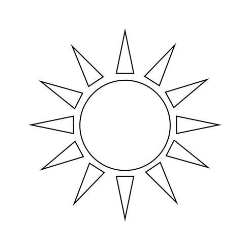 Sinal, de, sol, ícone vetor