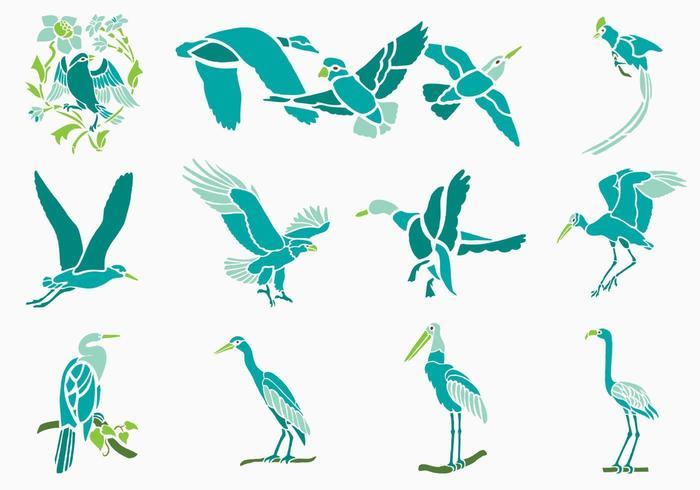 Pacote de vetores de pássaros tropicais