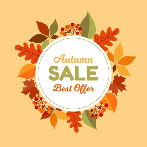 Quadro de venda de folhas de outono vetor