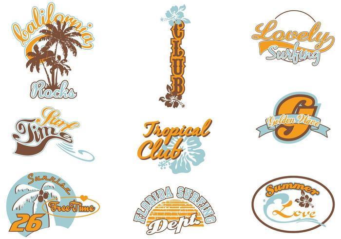Pacote de vetores de rótulo de verão surf
