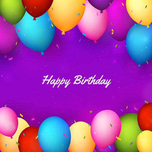 Fundo de feliz aniversário com balões realistas e confetes vetor