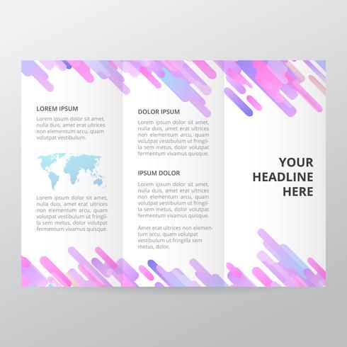 Folheto Trifold de geometria roxa. modelo de folheto de negócios, brochura de tendência. vetor