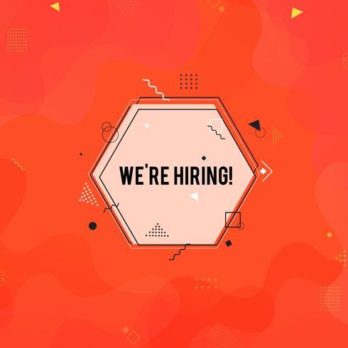 Estamos contratando símbolo, conceito de recrutamento de negócios. Fundo de contratação laranja vetor