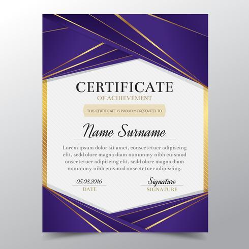 Molde do certificado com projeto elegante dourado e roxo luxuoso, graduação do projeto do diploma, concessão, sucesso. Ilustração do vetor. vetor