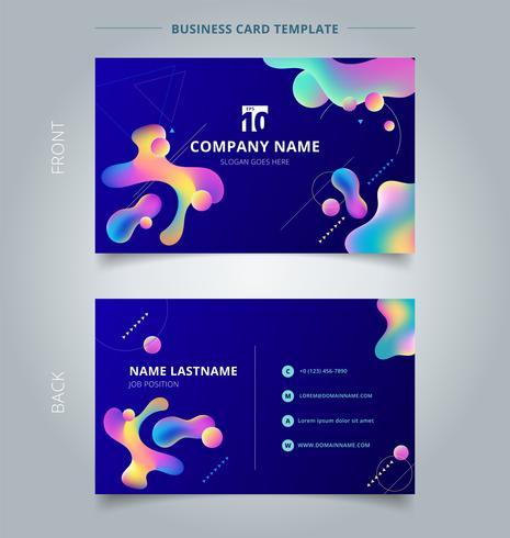 Molde do cartão e formas plásticas coloridas do cartão de nome com o geométrico no fundo azul. vetor