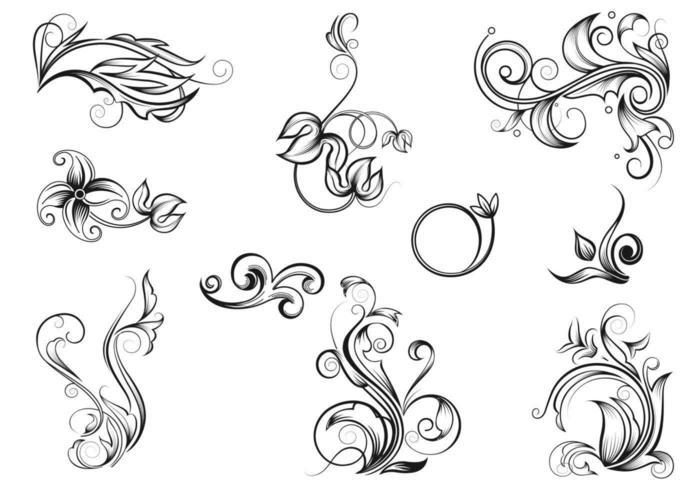 Vetores Flourish desenhados à mão