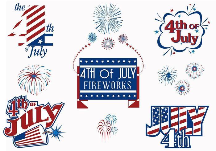 4 de julho, pacote de modelos de fogos de artifício vetor