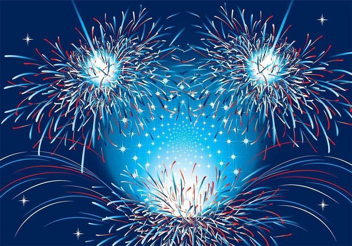 Fundo patriótico de fundo de fogos de artifício Dois vetor