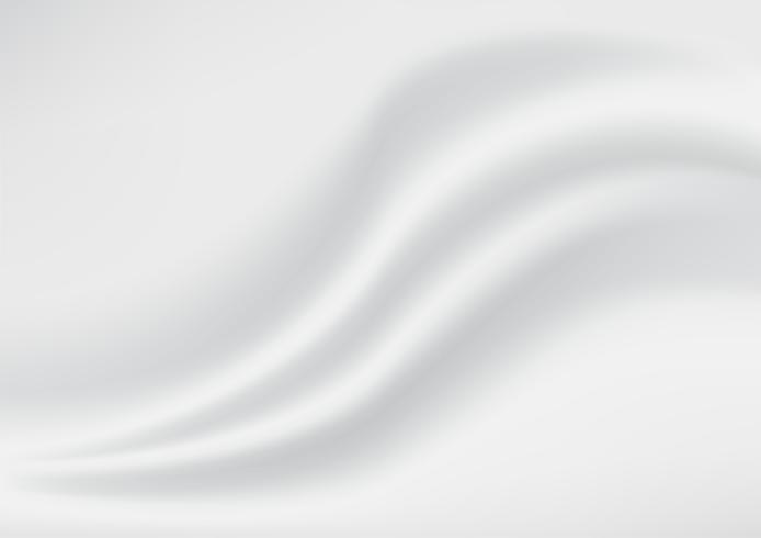 Textura abstrata de fundo. Seda de Cetim Branca e Cinza. Tecido de tecido têxtil com dobras onduladas. Ilustração vetorial vetor
