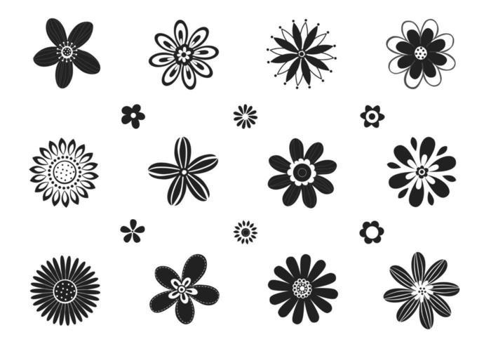 Pacote estilizado de vetores florais preto e branco