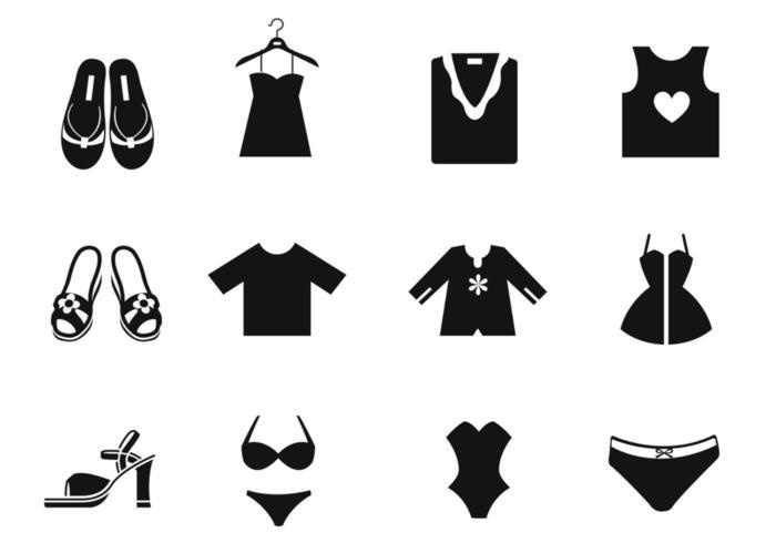 Ícones do vetor de roupas femininas