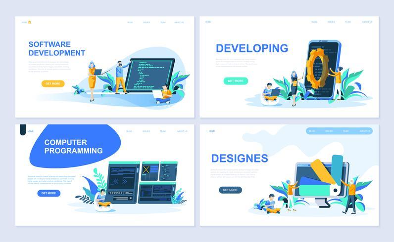 Conjunto de modelos de página de destino para Software, Desenvolvimento, Designer, Programação. Os conceitos lisos modernos da ilustração do vetor decoraram o caráter dos povos para o desenvolvimento do Web site e do Web site móvel.