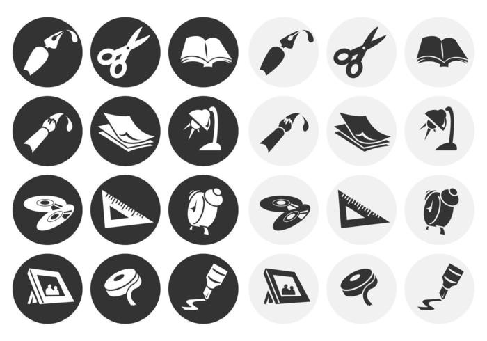 Black and White Office Tool Vector Pack