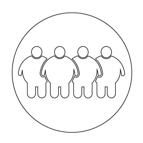 Ícone de pessoas gordas vetor