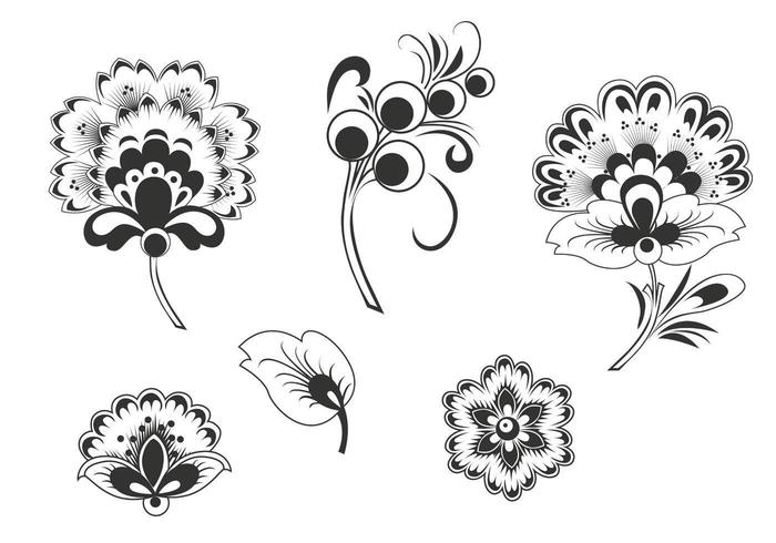 Pacote de vetores florais em preto e branco