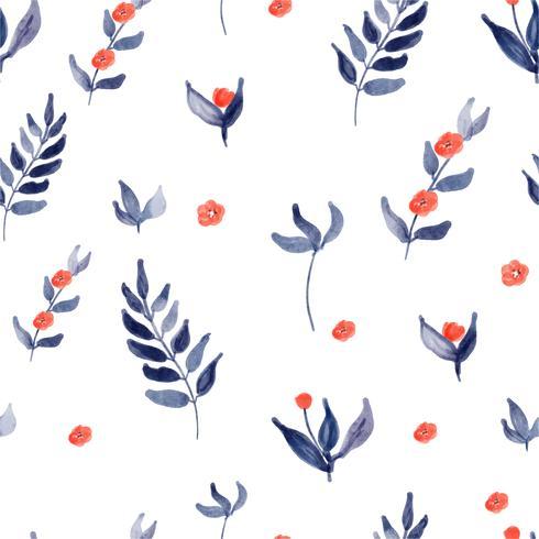 padrão de flores em aquarela sem costura cores azuis e vermelhas vetor