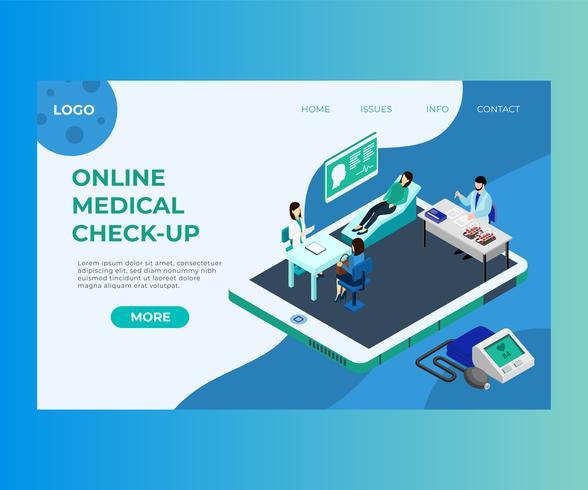 Doctor Treating people through Online app móvel Isometric Artwork vetor