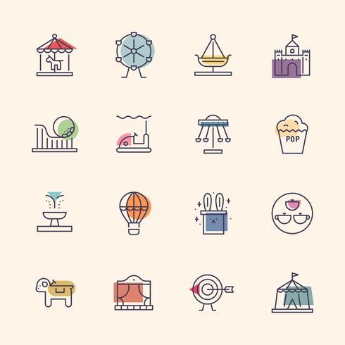 ícones de linha de parque de diversões. vetor