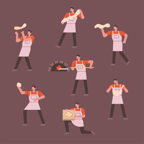 Chef personagem fazendo pão vetor