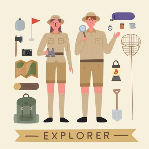 Homens e mulheres em roupas de explorador e equipamentos para exploração. vetor