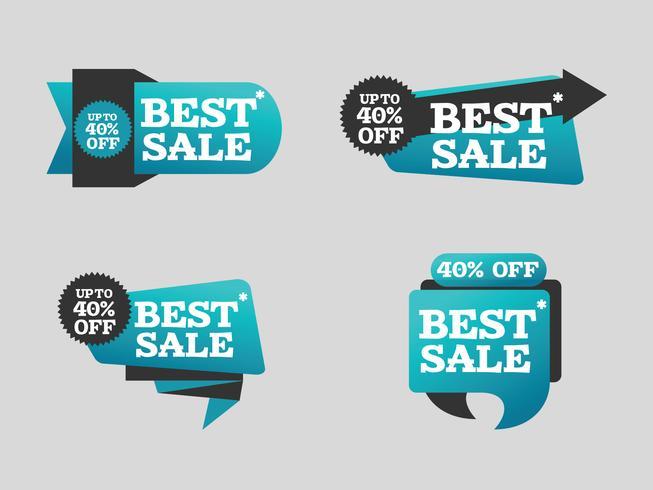 Melhor venda banners criativas coloridas fitas de compras vetor