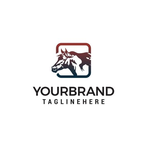 vetor de modelo de conceito de design de logotipo quadrado cavalo