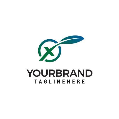 vetor de modelo de conceito de design de logotipo letra x folha