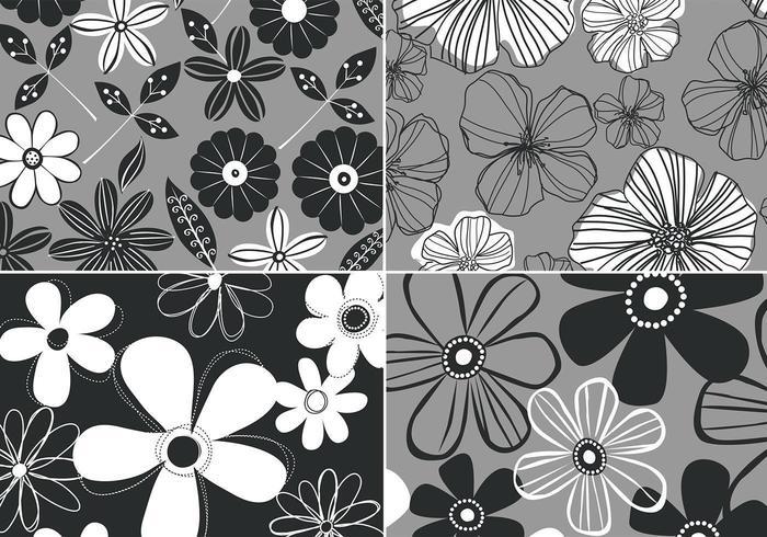 Fundo Floral Retro Preto E Branco Vector Quatro Pacote
