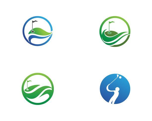 Elementos de símbolos de ícones de clube de golfe e imagens de vetor de logotipo