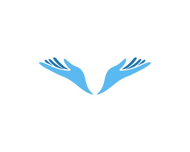 Ícones de modelo de logotipo e símbolos de cuidados de mão vetor
