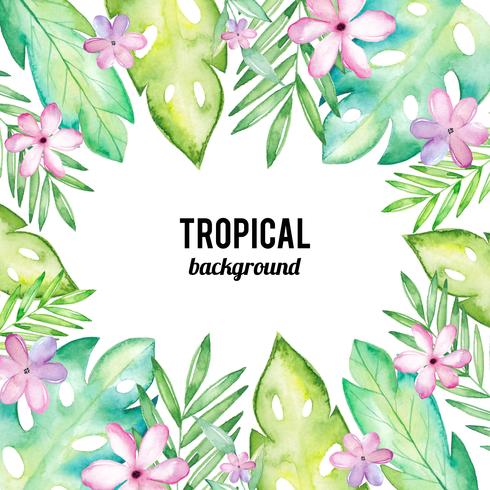 Fundo Aquarela Tropical vetor