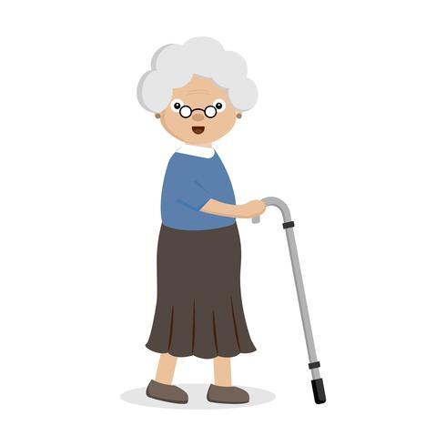 Mulher velha com uma bengala. vetor