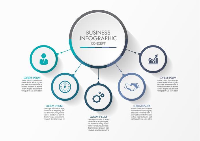 Círculo de negócios. ícones de infográfico de cronograma projetados para modelo abstrato vetor