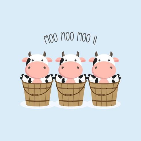 Vaca e bebê dos desenhos animados. vetor