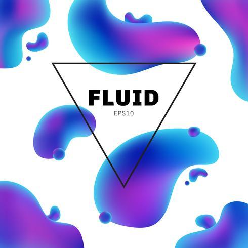 Forma holográfica fluida abstrata das cores com fundo moderno do quadro de texto com projeto na moda. Você pode usar para brochura de design, flyer, cartaz, banner web, etc. vetor