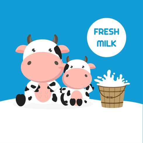 Vaca bonita com balde de leite. Ilustração vetorial vetor