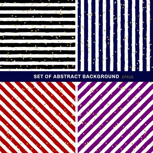 Conjunto de abstrato preto, azul, vermelho, roxo, branco listrado no fundo da moda com padrão de pontos aleatórios da folha de ouro. Você pode usar para cartão ou papel de embrulho, têxteis, embalagens, etc. vetor