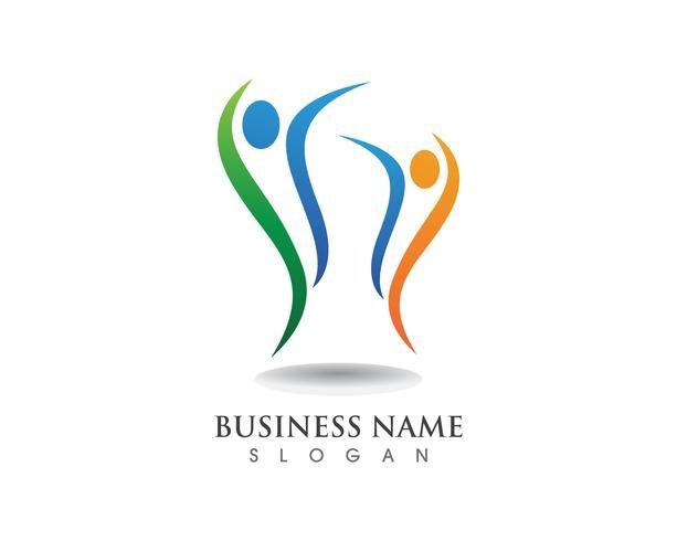 Logotipo de pessoas de liderança e símbolos vetor