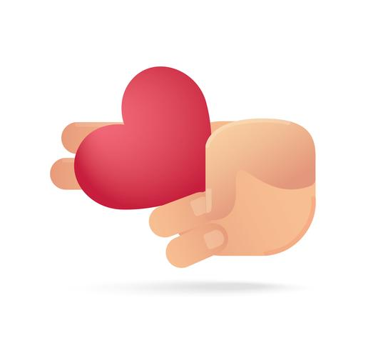 mão segurando o ícone de um coração. conceito de amor vetor