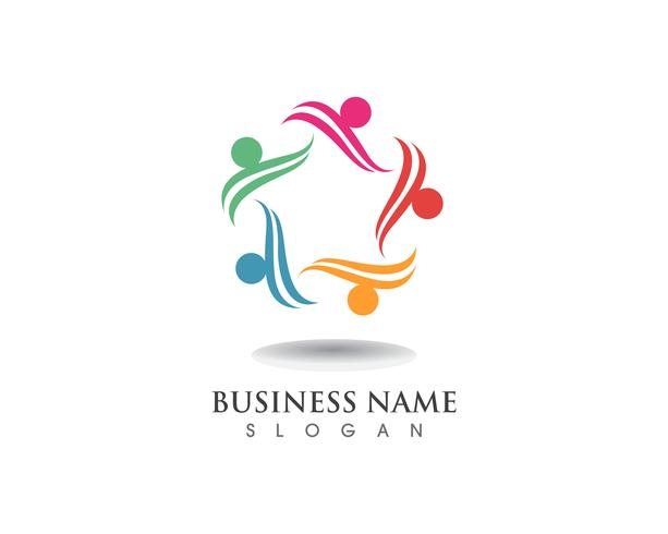 Logotipo de cuidados de pessoas estrela de grupo vetor