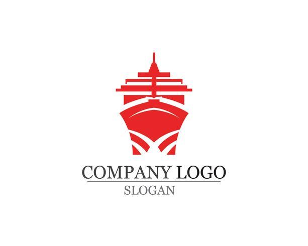 Logotipo linear simples da silhueta do navio do forro do cruzeiro do oceano vetor