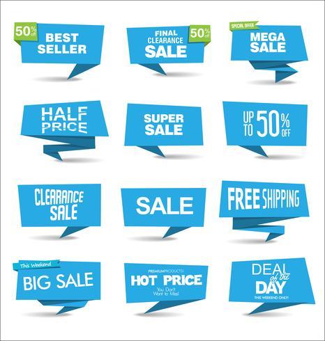 Coleção de adesivos coloridos de venda e tags vetor