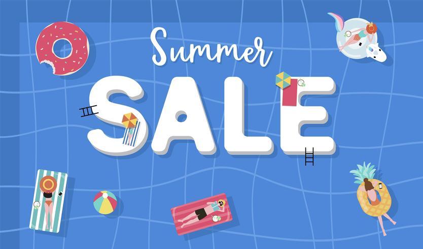 Fundo de venda verão com pessoas pequenas, guarda-chuvas, bola, flutuar na piscina vista superior. Bandeira de verão vetor