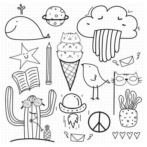 Mão desenhada Doodle Vector Set. Doodle engraçado conjunto. Ilustração vetorial artesanal.
